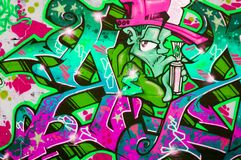 färgrika grafitti Arkivbild