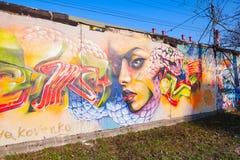 Färgrika grafitti med flickaståenden över gamla grå färger hårdnar gara Royaltyfri Bild