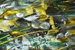 Färgrika guld- gröna livliga skuggor för abstrakt målarfärg, abstrakt textur Arkivfoton