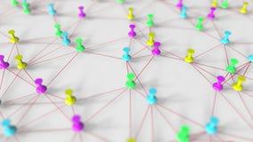 Färgrika häftstift och trådnätverksmodell på en pinboard, begreppsmässig tolkning 3D Royaltyfri Bild
