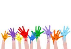färgrika händer Royaltyfri Fotografi