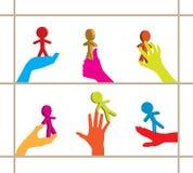 färgrika händer för affär som 3d rymmer personer inställda royaltyfri illustrationer