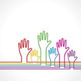 färgrika händer för bakgrund Royaltyfria Bilder