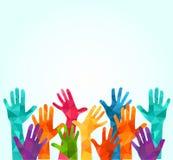 färgrika händer upp Vektorillustration, en associerscelation, enhet, partners, företag, kamratskap, vänbakgrund Volunteebr vektor illustrationer