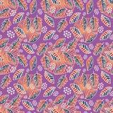Färgrika höstsidor och lövverk med utdragen sömlös bakgrund för barnslig hand royaltyfri illustrationer