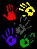 färgrika handprints för childs Royaltyfri Bild