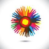 Färgrika handsymboler som kronblad av blomman: lyckligt gemenskapbegrepp Arkivbild