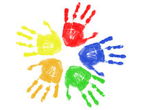 färgrika handtryck Royaltyfri Fotografi