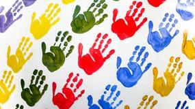 färgrika handtryck Arkivbild
