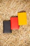 Färgrika handväskor i höet Royaltyfri Bild