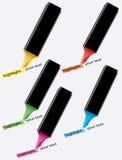färgrika highlighters Royaltyfria Bilder