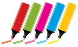 färgrika highlighters Royaltyfri Fotografi