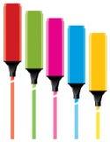 färgrika highlighters Arkivfoton