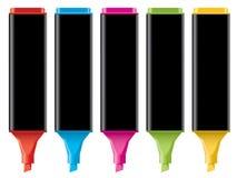 färgrika highlighters Arkivbild