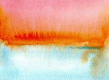 Färgrika himmelblått och orange vattenfärgtexturer på vitbokbakgrund Sky och hav Hand målad abstrakt illustration vektor illustrationer