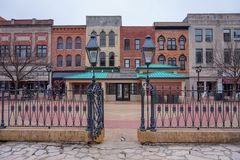 Färgrika historiska byggnader i Springfield, Illinois royaltyfri bild