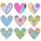 färgrika hjärtaprydnadar vektor illustrationer