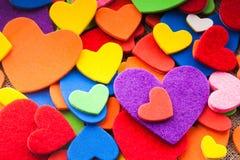 Färgrika hjärtor Fotografering för Bildbyråer