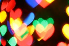 färgrika hjärtor för bokeh Royaltyfri Bild