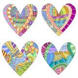 Färgrika hjärtor med den olika klotterstilmodellen Royaltyfria Bilder