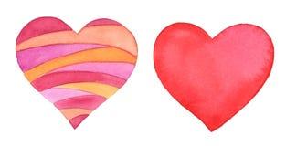 Färgrika hjärtor, vattenfärgbeståndsdelar som isoleras på vit vektor illustrationer