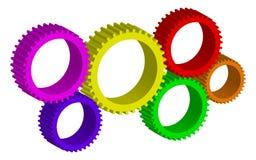 färgrika hjul för kugge stock illustrationer