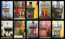 färgrika hus Arkivfoton