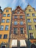 Färgrika hus av den Gdansk Dluga gatan Polen Fotografering för Bildbyråer