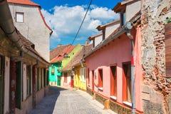 Färgrika hus av Sibiu Arkivfoton
