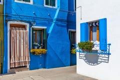 färgrika hus för burano Royaltyfria Bilder