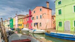 färgrika hus för burano royaltyfri fotografi