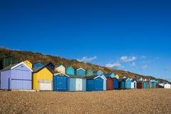 färgrika hus för strand Arkivbilder