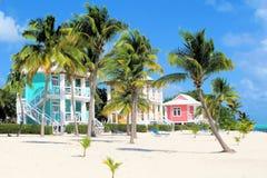 färgrika hus för strand Arkivfoto
