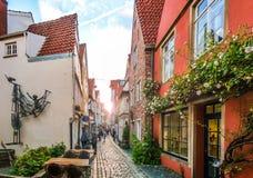 Färgrika hus i berömda Schnoorviertel i Bremen, Tyskland Arkivfoto