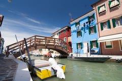 Burano Venedig Arkivfoto