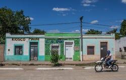 Färgrika hus i Colonia Elisa nära den Chaco nationalparken Arkivbilder