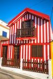 Färgrika hus i Costa Nova, Aveiro, Portugal Royaltyfria Bilder
