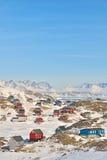 Färgrika hus i Grönland Royaltyfria Bilder