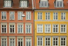 Färgrika hus i Köpenhamn Arkivfoto