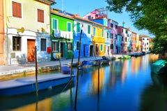 Färgrika hus i Venedig Fotografering för Bildbyråer