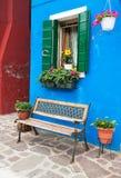 färgrika hus italy venice för burano Arkivfoton