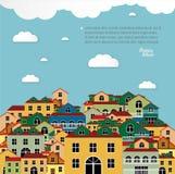 Färgrika hus med himmelbakgrund. Arkivbilder