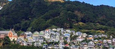 Färgrika hus på monteringen Victoria i gummistöveln, Nya Zeeland Royaltyfri Fotografi