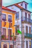 Färgrika hus Porto Portugal för gammal stad Royaltyfria Bilder