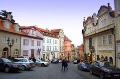 Färgrika hus Prague Royaltyfria Bilder