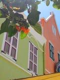 Färgrika hus Willemstad, Curacao Arkivbilder