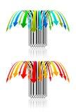 färgrika idérika fallande priser barcodes1 Arkivbild