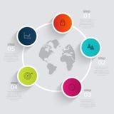 Färgrika informationsdiagram om vektor för dina affärspresentationer Arkivbild