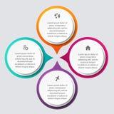 Färgrika informationsdiagram om vektor för dina affärspresentationer Arkivfoton