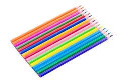färgrika isolerade blyertspennor Arkivfoton